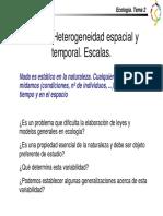 Ecología - Tema 2 Heterogeneidad Espacial y Temporal. Escalas.