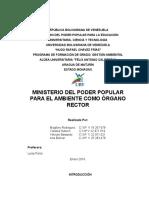 Ministerio Del Poder Popular Para El Ambiente Como Órgano Rector