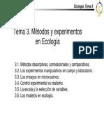 Ecología - Tema 3 Métodos y Experimentos en Ecología