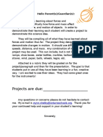 forces and motion parent letter