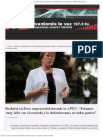"""Bachelet en Foro Empresarial Durante La APEC """"Estamos Muy Feliz Con El Acuerdo"""