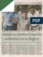 30-01-15 Anuncian reestructuración y austeridad en la Región