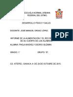 Informe de La Alimentación y El Reconocimiento de Su Cuerpo de Los Alumnos.