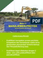 Manajemen Proyek 5 ( Tahapan Seleksi Dan Jenis Kontrak ) 2015
