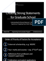 Creating Strong Statements for Graduate School 2013