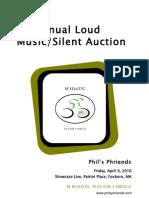 Phil's Phriends 2010 Loud Music/Silent Auction brochure