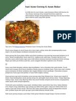 Teknik serta Kiat Buat Ayam Goreng & Ayam Bakar