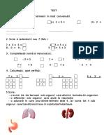 Test Adunarea  si scaderea in concentrul 0-10