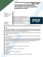 850.NBR 14399 - Cal Hidratada Para Argamassas - Determinação Da Água Da Pasta de Consistência Normal