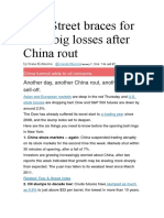 Wall Street Braces for More Big Losses After China Rout
