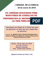 VII Jornada Prematrimoniales 2016 Díptico