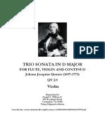 Quantz Trio Sonata in D Major - Violin Part