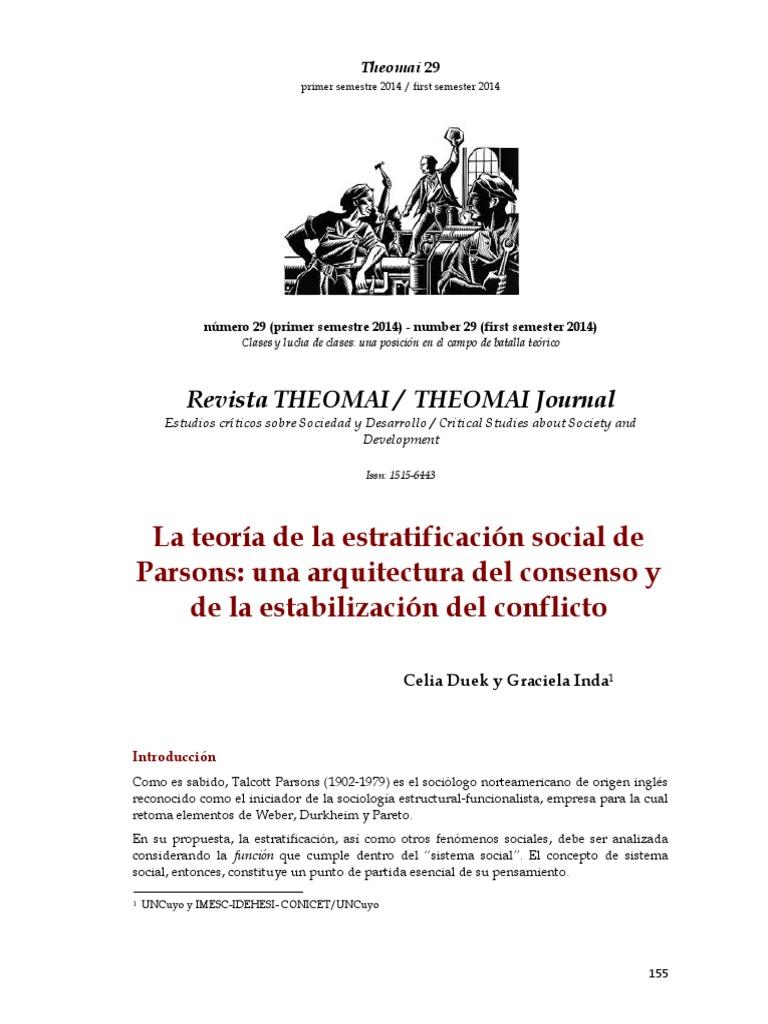 Parsons Estratificación Estratificación Social Sociedad