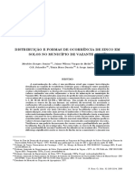 DISTRIBUTION AND FORMS OF ZINC IN SOILS FROM VAZANTE, STATE OF MINAS GERAIS (BRASIL)