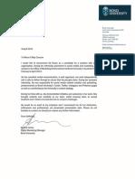bond university internship reference letter