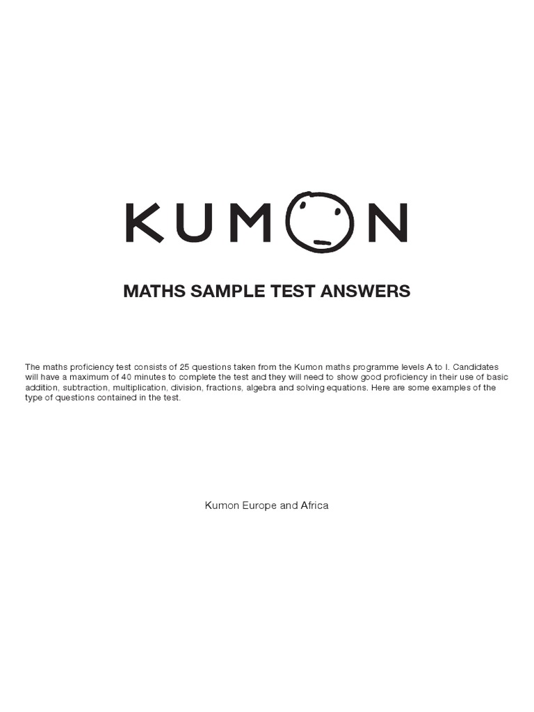 Math SAMPLE Test 1 Answers
