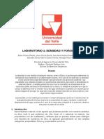 Informe de laboratorio DENSIDAD Y POROSIDAD