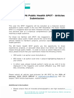 Call for the #6 Public Health SPOT - Articles Submission