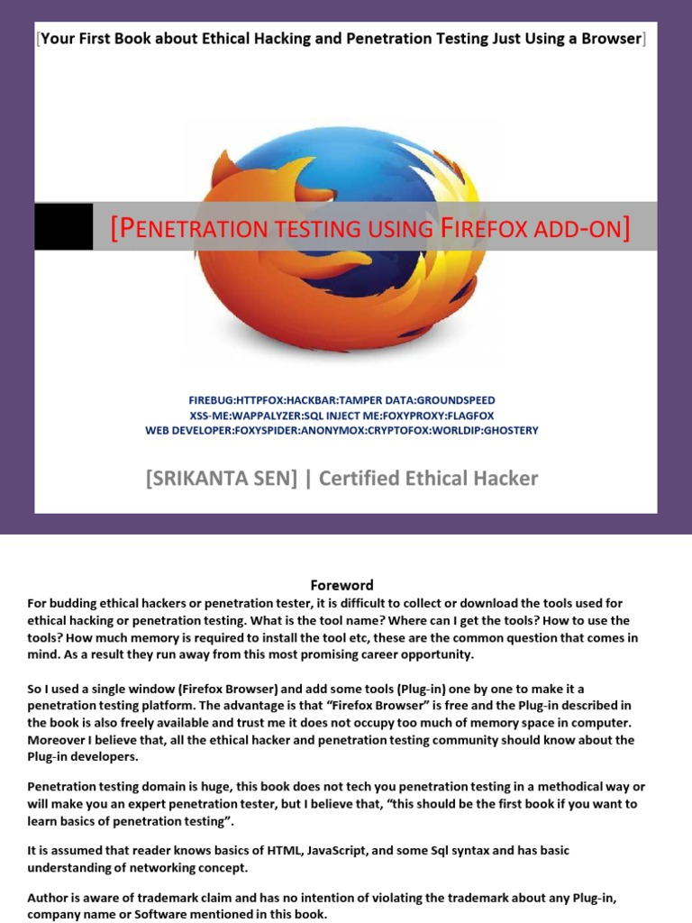 Ethical Hacking Firefox Plugin by Srikanta Sen | Proxy Server | Http