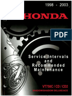 Honda VT750CD ACE Service Interval and Rec Maint Manual