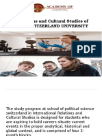 Relations and Cultural Studies of Abms Switzerland University