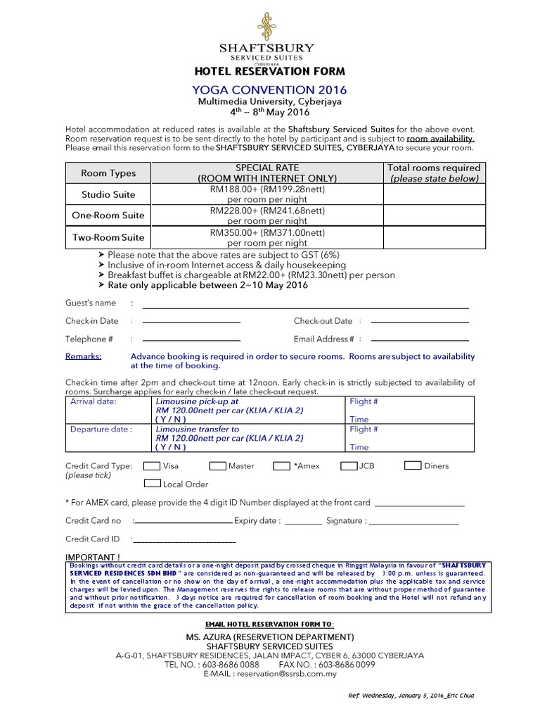Shaftsbury- Hotel Reservation Form