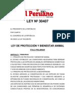 LEY DE PROTECCIÓN Y BIENESTAR ANIMAL