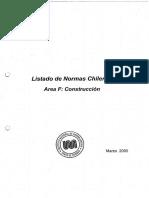 Listado de Normas Chilenas. Area F Construcción. Marzo 2005