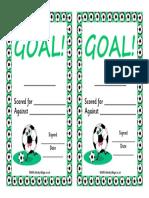 Football Certificate Goal