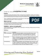 Sulphur Dioxide Sulphides in Meat Info Pamphlet