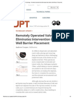 Journal of Petroleum Technology - Remotely Operated Valve Eliminates Intervention in Well Barrier Placement