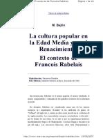 Bajtin Mijail - La Cultura Popular en La Edad Media y en El Renacimiento El Contexto de Francois Rebalais (1)