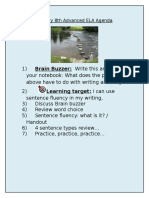 january 8 2016 advanced agenda sentence fluency