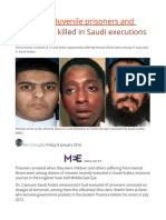 REVEALED Juvenile Prisoners and Mentally Ill Killed in Saudi Executions