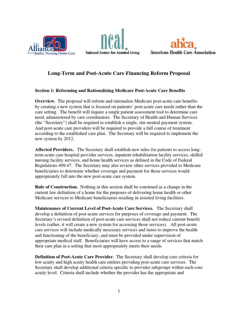 long-term care reform proposal | long term care | medicare (united