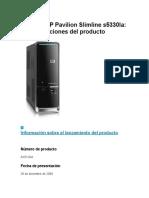 Desktop HP Pavilion Slimline s5330la