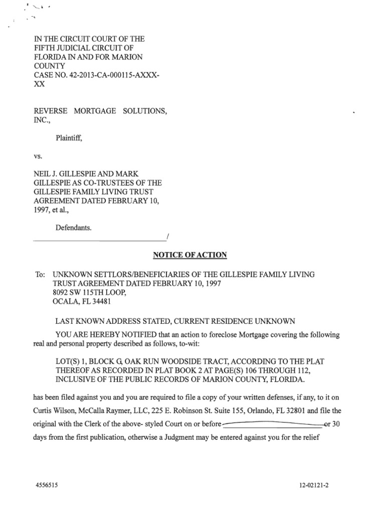 Notice Of Action To Foreclose Clerk David R Ellspermann For Mccalla