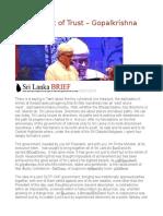 A Continent of Trust – Gopalkrishna Gandhi