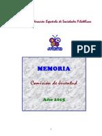 Memoria de la Comisión de Juventud de #Filatelia de FESOFI 2015. Autor José Pedro Gómez Agüero.