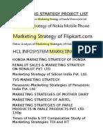 Marketing Strategy Project List