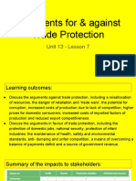 unit 13 - lesson 7 - arguments for   against trade protection
