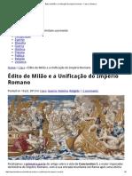 Édito de Milão e a Unificação Do Império Romano - Caos No Sistema Parte 2