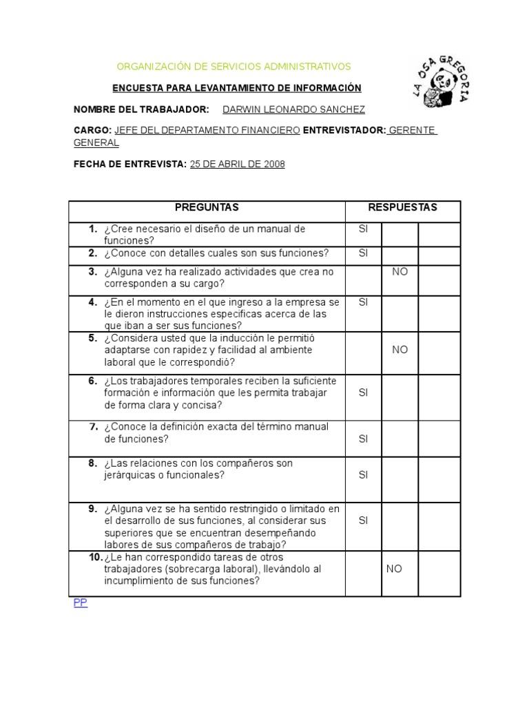 Encuesta para levantamiento 2 for Manual de funciones de un restaurante pdf