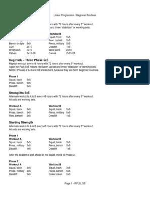 Beginner Program Compendium   Weight Training   Physical