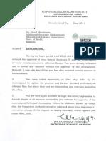 Explanation to Mr. Hanif Mirchiwala