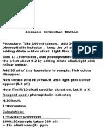 Ammonia Estimation Method