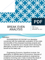 1. Break Even Analysis