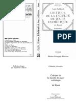 Critique de La Faculte de Juger Esthetique de Kant - Guillermit Louis