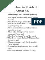 vocabulario 7a worksheet answer key