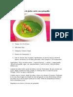 Receta Crema Tibia de Judía Verde Con Quisquilla